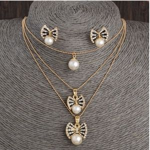 Jewelry - Mulitilayer Necklace Crystal Pearl Earrin